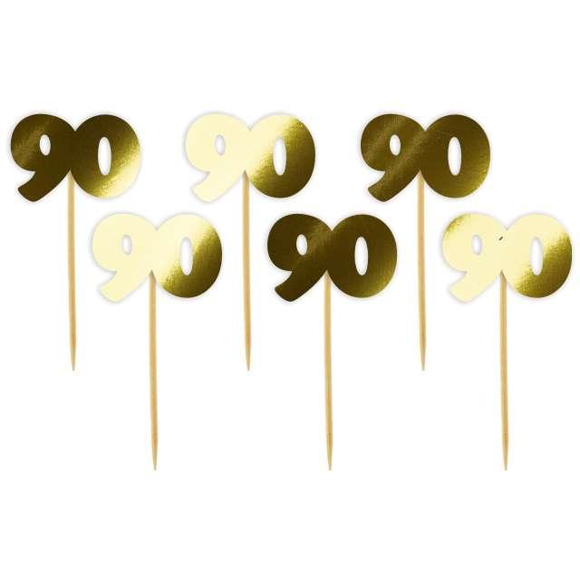 """Pikery """"90 Urodziny Classic"""", złote metalik, 6 szt"""