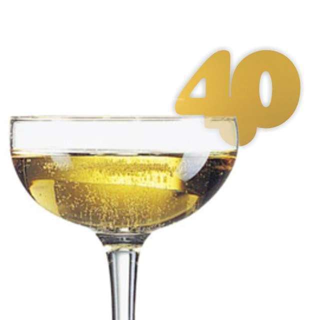 """Dekoracja na kieliszki """"Urodziny 40"""", złota, 10 szt"""