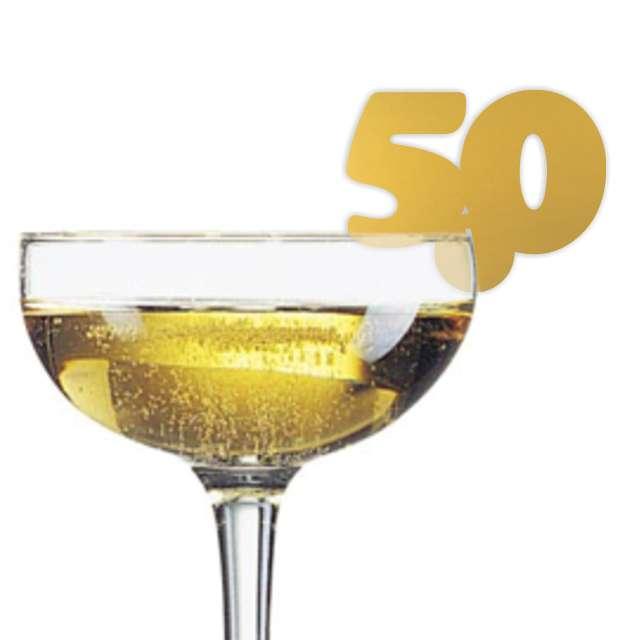 """Dekoracja na kieliszki """"Urodziny 50"""", złota, 10 szt"""