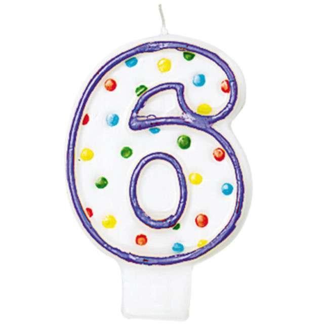 """Świeczka na tort """"6"""", AMSCAN, kropeczki, 8 cm"""