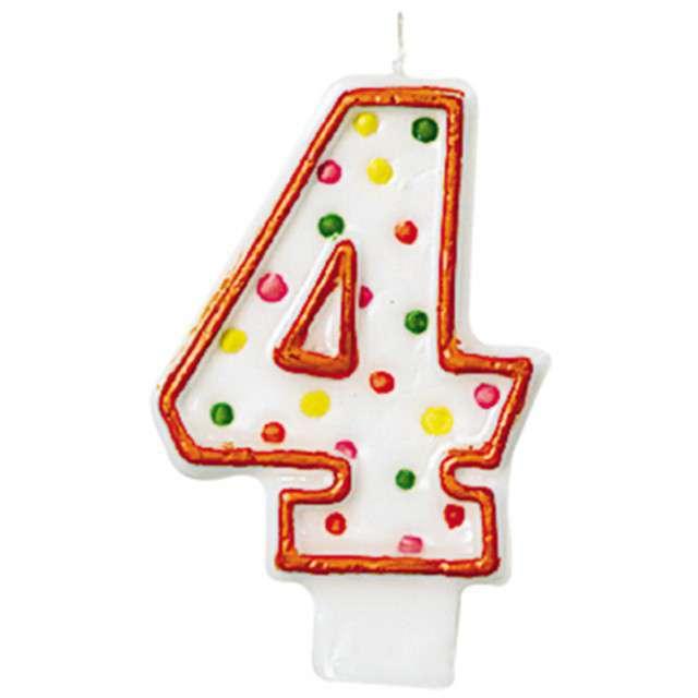 """Świeczka na tort """"4"""", AMSCAN, kropeczki, 8 cm"""