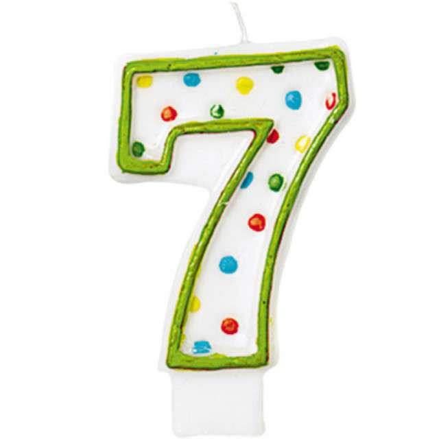 """Świeczka na tort """"7"""", AMSCAN, kropeczki, 8 cm"""