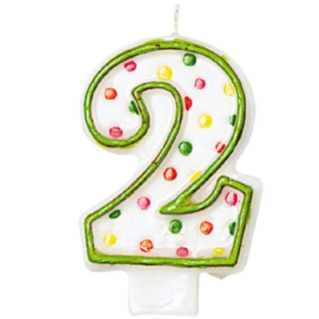 """Świeczka na tort """"2"""", AMSCAN, kropeczki, 8 cm"""