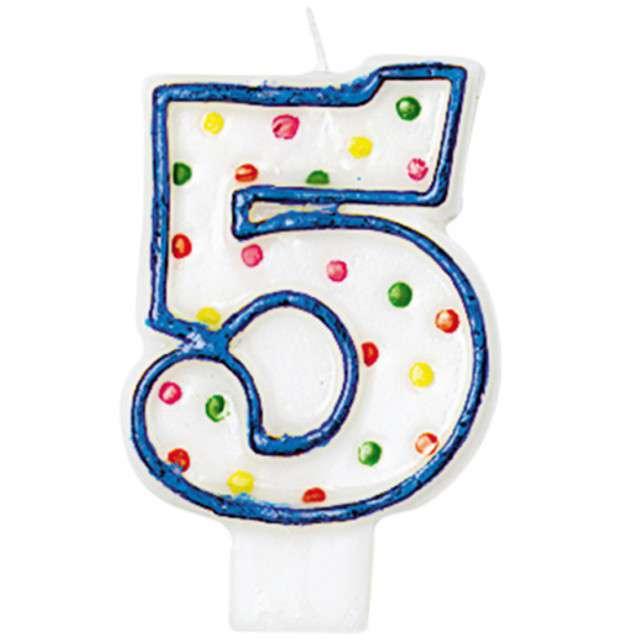 """Świeczka na tort """"5"""", AMSCAN, kropeczki, 8 cm"""