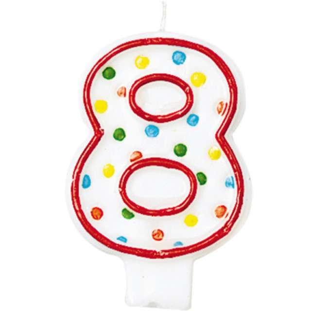 """Świeczka na tort """"8"""", AMSCAN, kropeczki, 8 cm"""
