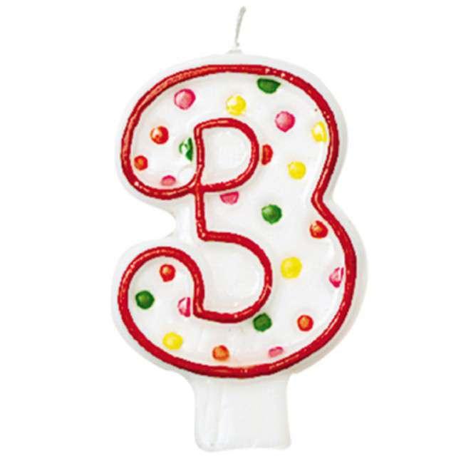 """Świeczka na tort """"3"""", AMSCAN, kropeczki, 8 cm"""