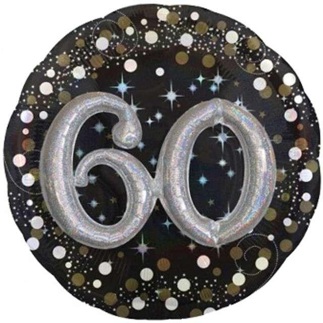 "Balon foliowy ""Urodziny 60"", Sparkling Birthday, AMSCAN, 36"" CIR"