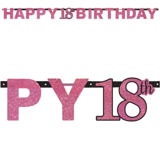 "Girlanda ""18 Urodziny - Happy Birthday"", Sparkling Celebration Pink, AMSCAN, 210 cm"