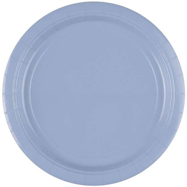 """Talerzyki papierowe """"Premium AMSCAN L"""", niebieskie pastelowe, 22,8 cm, 8 szt"""