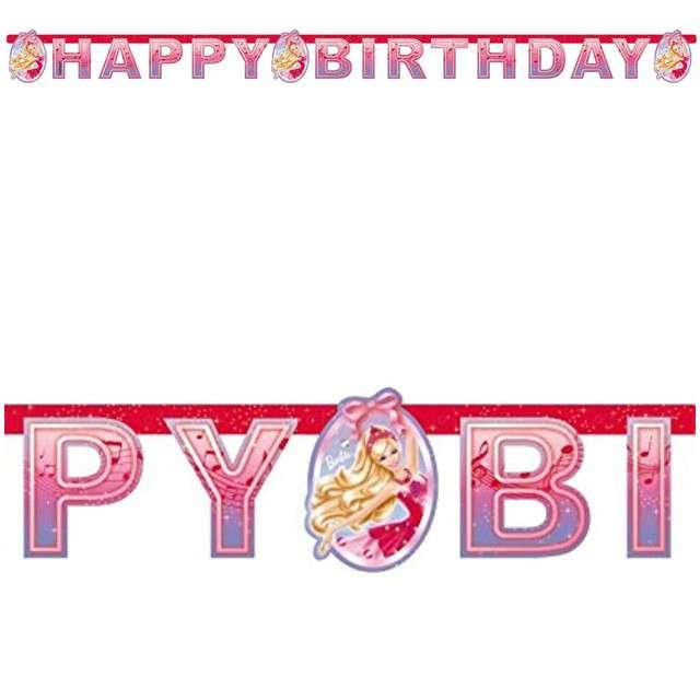 "Baner ""Barbie - Happy Birthday"", różowa, AMSCAN, 180 cm"