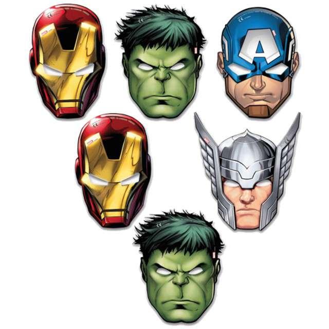 """Maska """"Mighty Avengers"""", papierowa, PROCOS, 6 szt"""