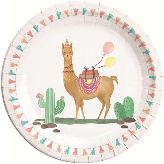 """Talerzyki papierowe """"Lama Party"""", PROCOS, 23 cm, 8 szt"""