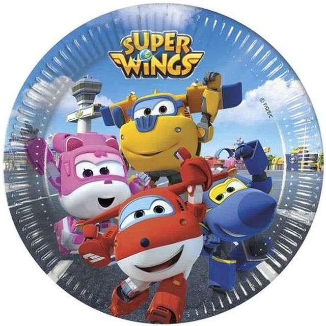 """Talerzyki papierowe """"Super Wings"""", PROCOS, 20 cm, 8 szt"""