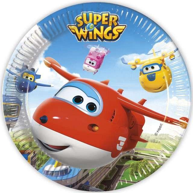 """Talerzyki papierowe """"Super Wings"""", PROCOS, 23 cm, 8 szt"""