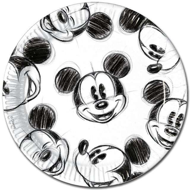 """Talerzyki papierowe """"Myszka Mickey Faces"""", PROCOS, 23 cm, 25 szt"""