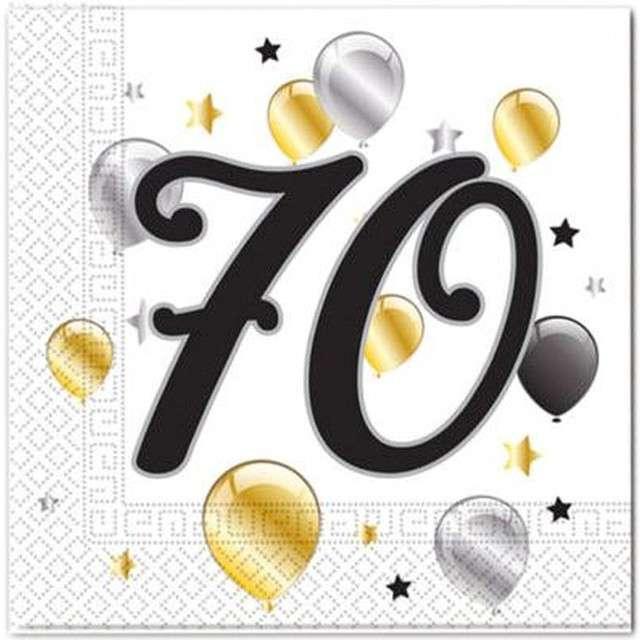 """Serwetki """"70 urodziny Balloons"""", PROCOS, 33 cm, 20 szt"""