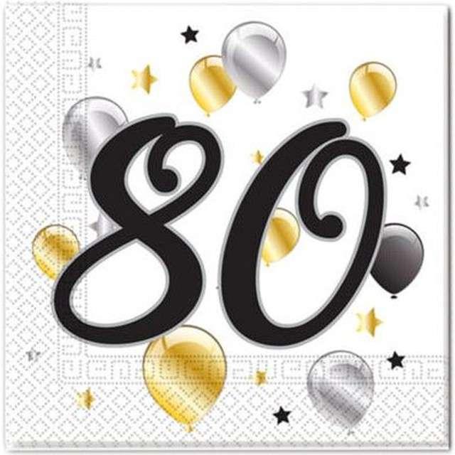 """Serwetki """"80 urodziny Balloons"""", PROCOS, 33 cm, 20 szt"""