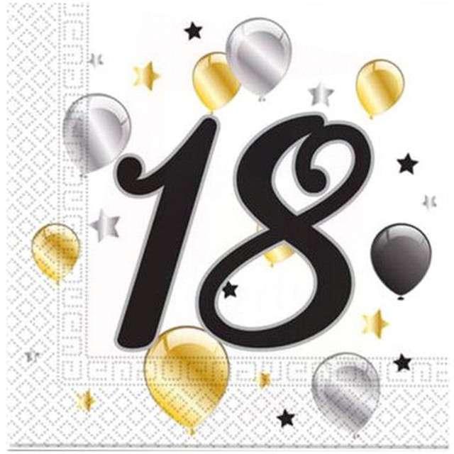 """Serwetki """"18 urodziny Balloons"""", PROCOS, 33 cm, 20 szt"""