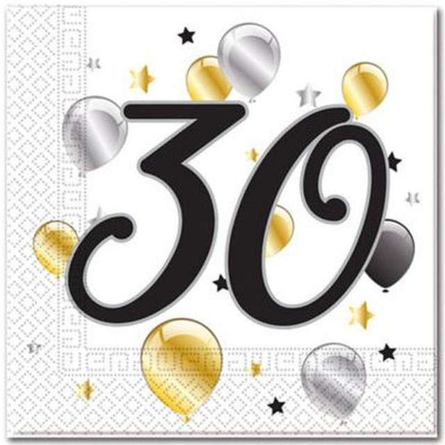 """Serwetki """"30 urodziny Balloons"""", PROCOS, 33 cm, 20 szt"""