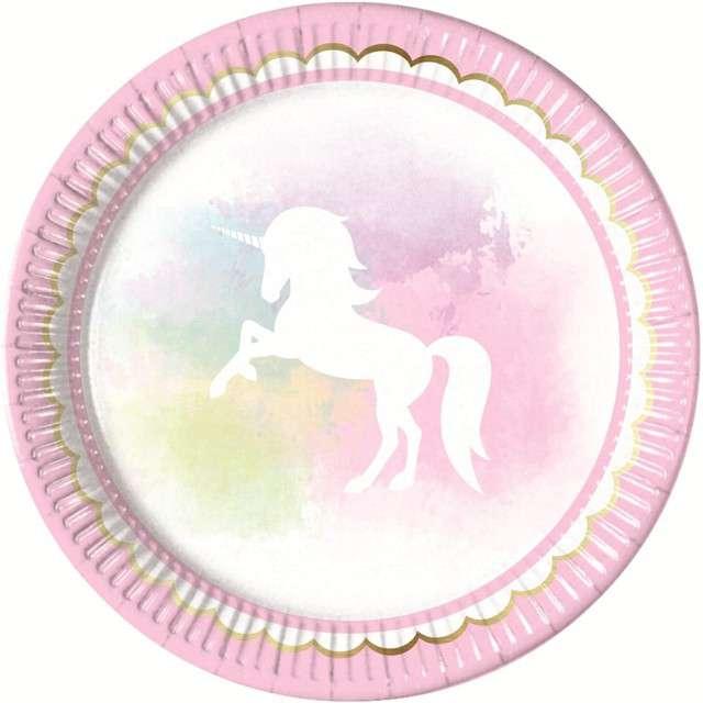 """Talerzyki papierowe """"Believe in Unicorns"""", PROCOS, 23 cm, 8 szt"""