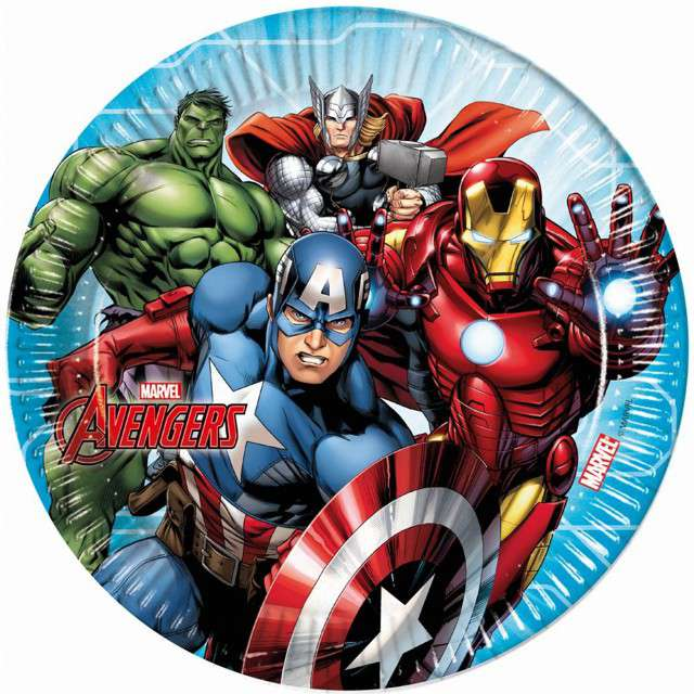 """Talerzyki papierowe """"Mighty Avengers"""", PROCOS, 23 cm, 8 szt."""