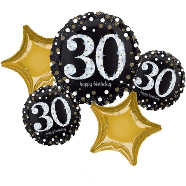 Balon foliowy 30 Urodziny - Sparkling Celebration AMSCAN zestaw
