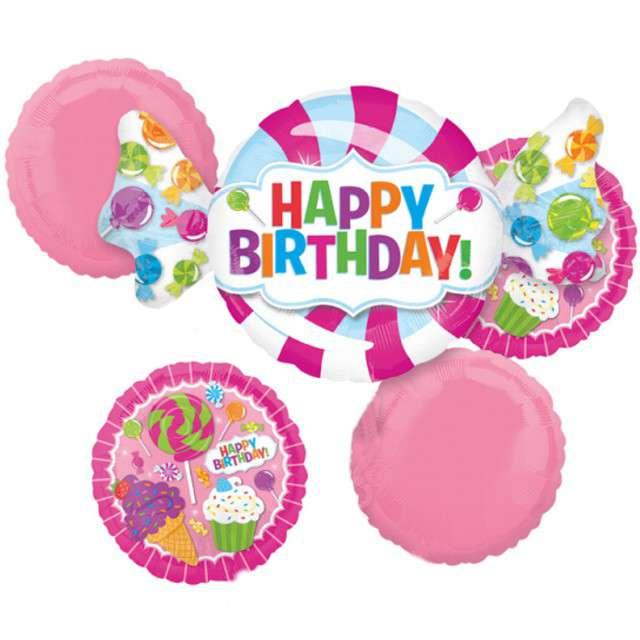 """Balon foliowy """"Słodkie Happy Birthday"""", AMSCAN, zestaw"""