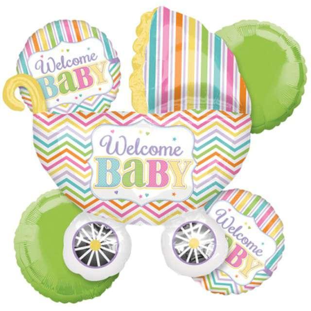 """Balon foliowy """"Welcome Baby"""", AMSCAN, zestaw"""