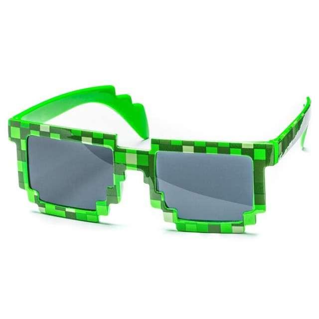"Okulary party ""8 bit pixel"", zielone"