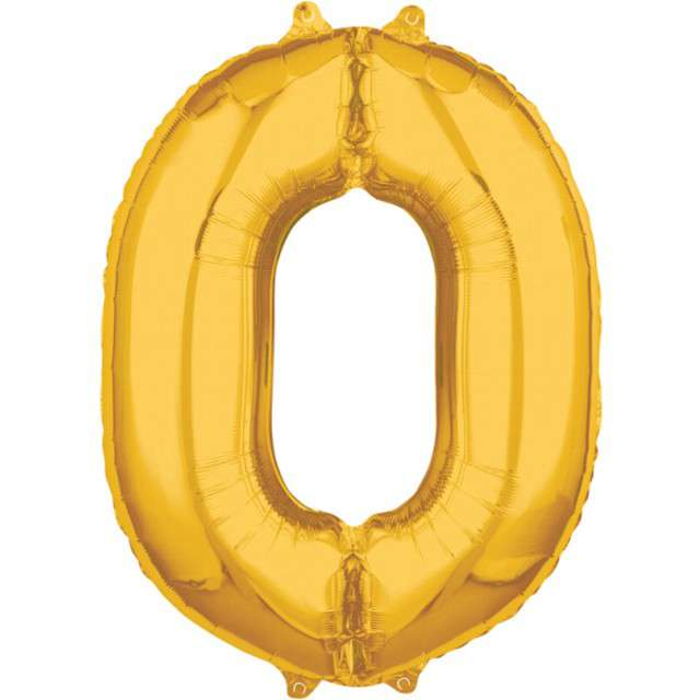 """Balon foliowy cyfra 0, 26"""", AMSCAN, złoty"""