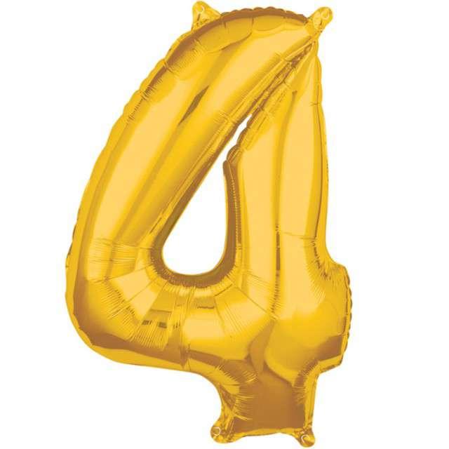 """Balon foliowy cyfra 4, 26"""", AMSCAN, złoty"""