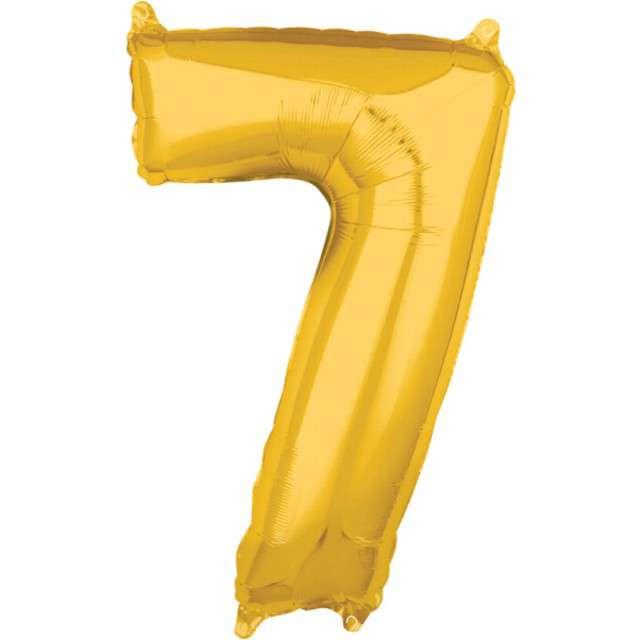"""Balon foliowy cyfra 7, 26"""", AMSCAN, złoty"""