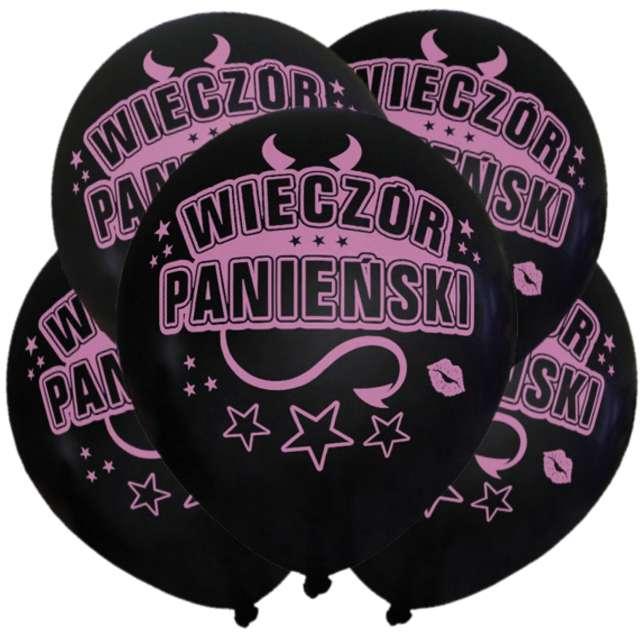 """Balony """"Wieczór Panieński"""", 12"""", czarne, 5 szt"""