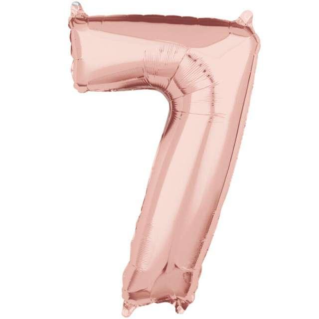 "Balon foliowy cyfra 7, 26"", AMSCAN, szampański"