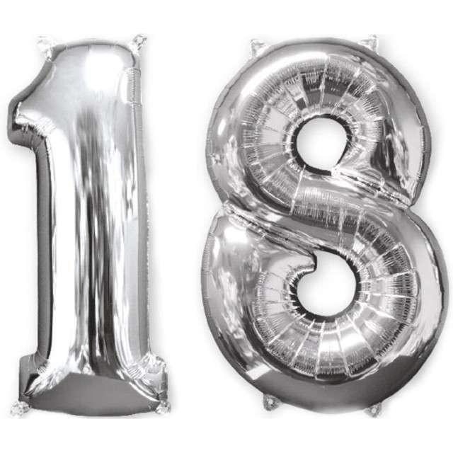 """Balon foliowy cyfra 1+8, """"18 Urodziny"""", 26"""", AMSCAN, srebrna"""