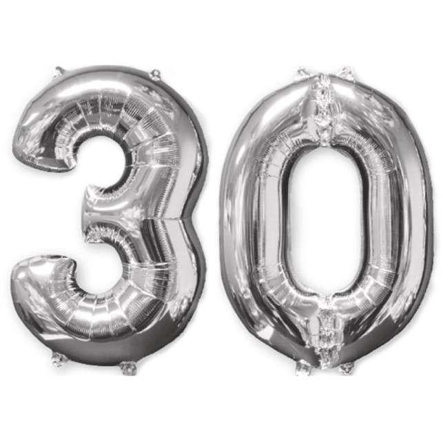 """Balon foliowy cyfra 3+0, """"30 Urodziny"""", 26"""", AMSCAN, srebrna"""