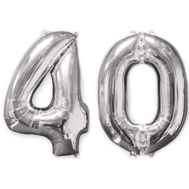 """Balon foliowy cyfra 4+0, """"40 Urodziny"""", 26"""", AMSCAN, srebrna"""