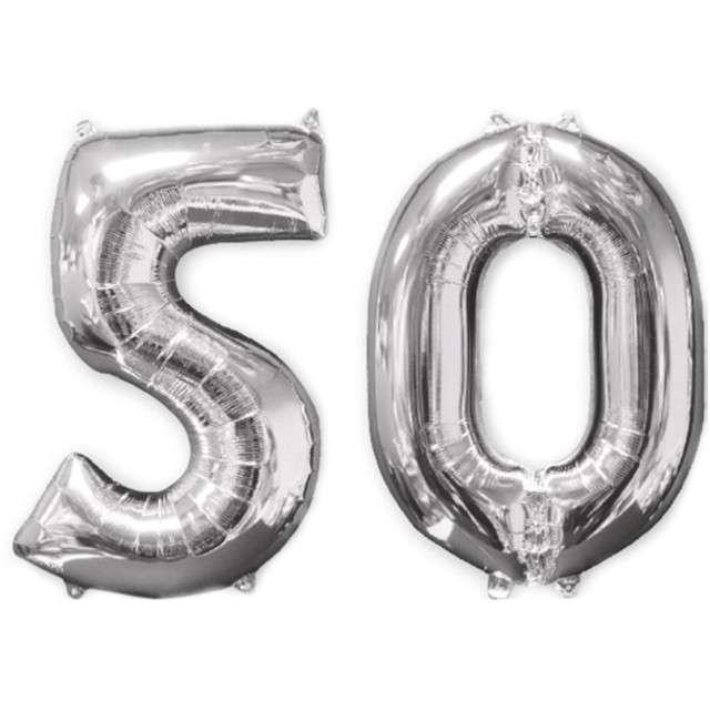 """Balon foliowy cyfra 5+0, """"50 Urodziny"""", 26"""", AMSCAN, srebrna"""