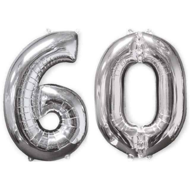 """Balon foliowy cyfra 6+0, """"60 Urodziny"""", 26"""", AMSCAN, srebrna"""