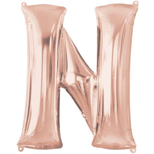 """Balon foliowy litera N, 32"""", AMSCAN, szampański"""