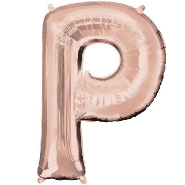 """Balon foliowy litera P, 32"""", AMSCAN, szampański"""