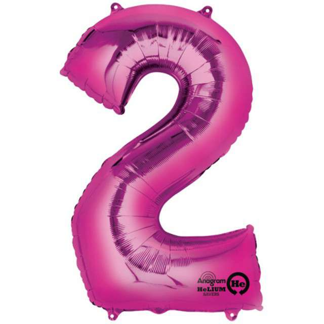 "Balon foliowy cyfra 2, 34"", AMSCAN, różowa"