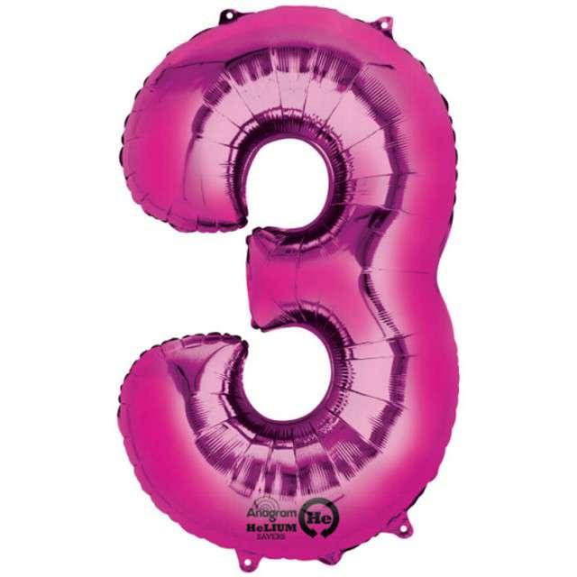 "Balon foliowy cyfra 3, 34"", AMSCAN, różowa"