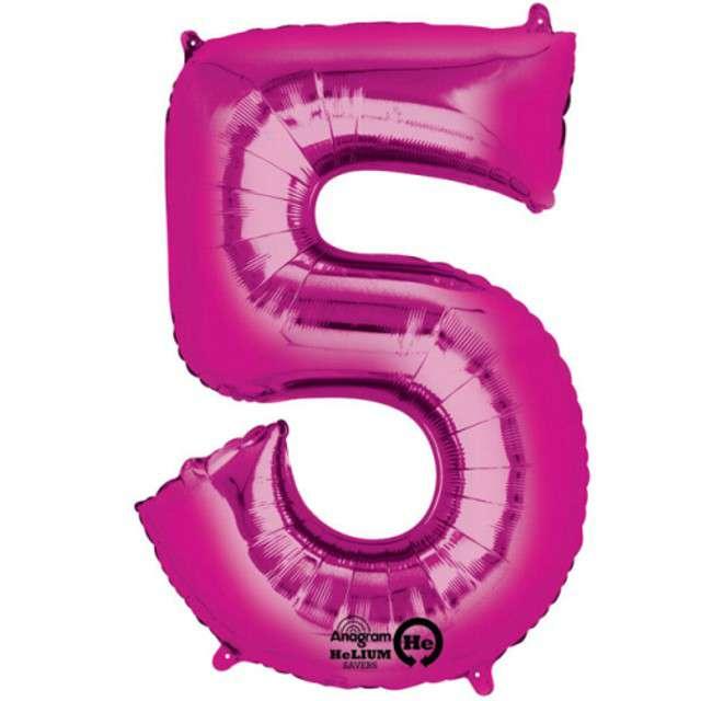 "Balon foliowy cyfra 5, 34"", AMSCAN, różowa"