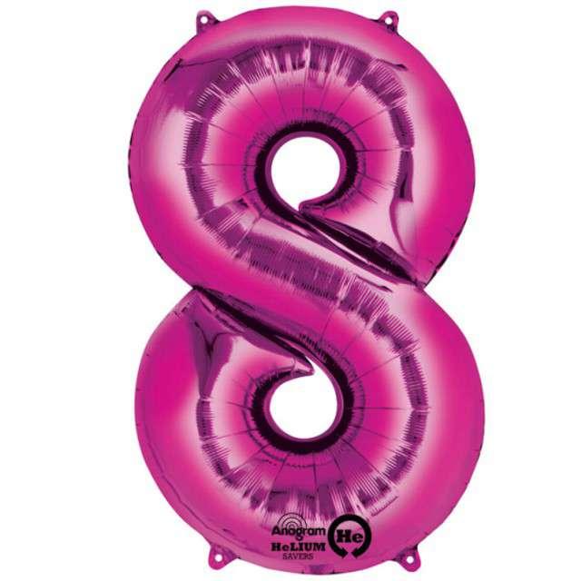 "Balon foliowy cyfra 8, 34"", AMSCAN, różowa"