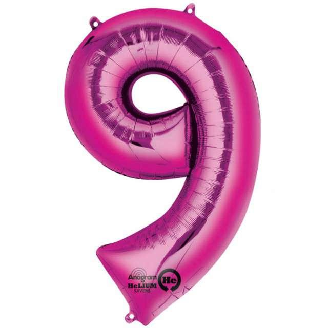 "Balon foliowy cyfra 9, 34"", AMSCAN, różowa"