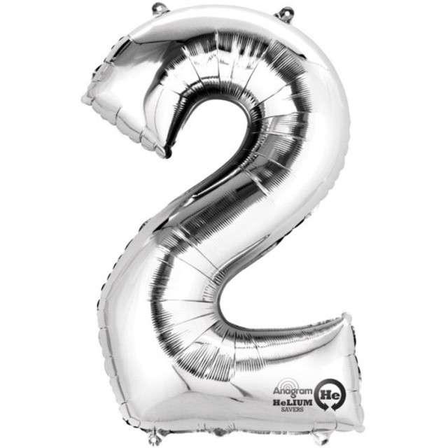 """Balon foliowy cyfra 2, 34"""", AMSCAN, srebrna"""