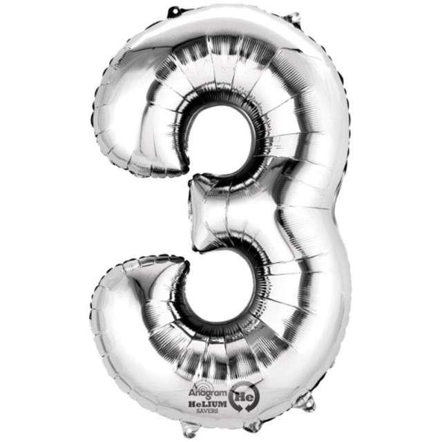 """Balon foliowy cyfra 3, 34"""", AMSCAN, srebrna"""