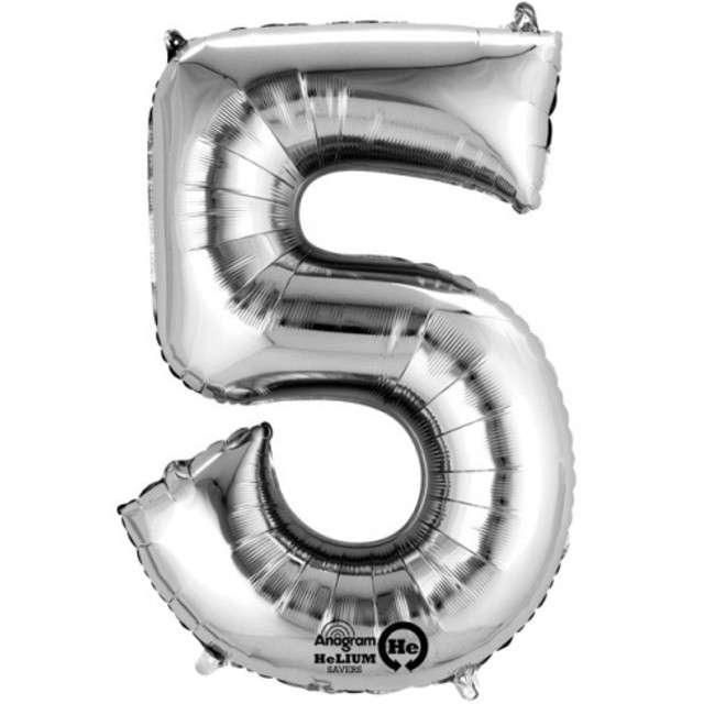 """Balon foliowy cyfra 5, 34"""", AMSCAN, srebrna"""