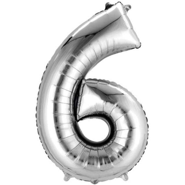 """Balon foliowy cyfra 6, 34"""", AMSCAN, srebrna"""